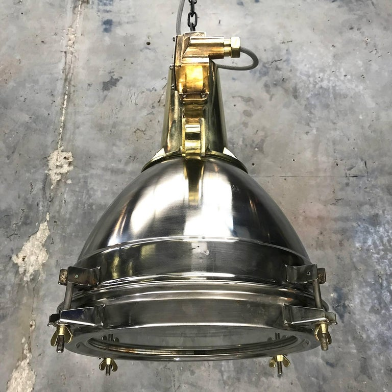 1970s Japanese Large Stainless Steel, Cast Brass and Bronze Search Light Pendant For Sale 3