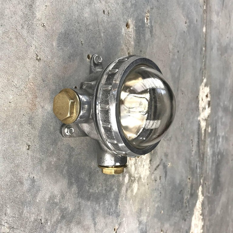 Late 20th Century 1970s Russian Cast Aluminium, Brass and Glass Industrial Micro Spot / Down Light For Sale
