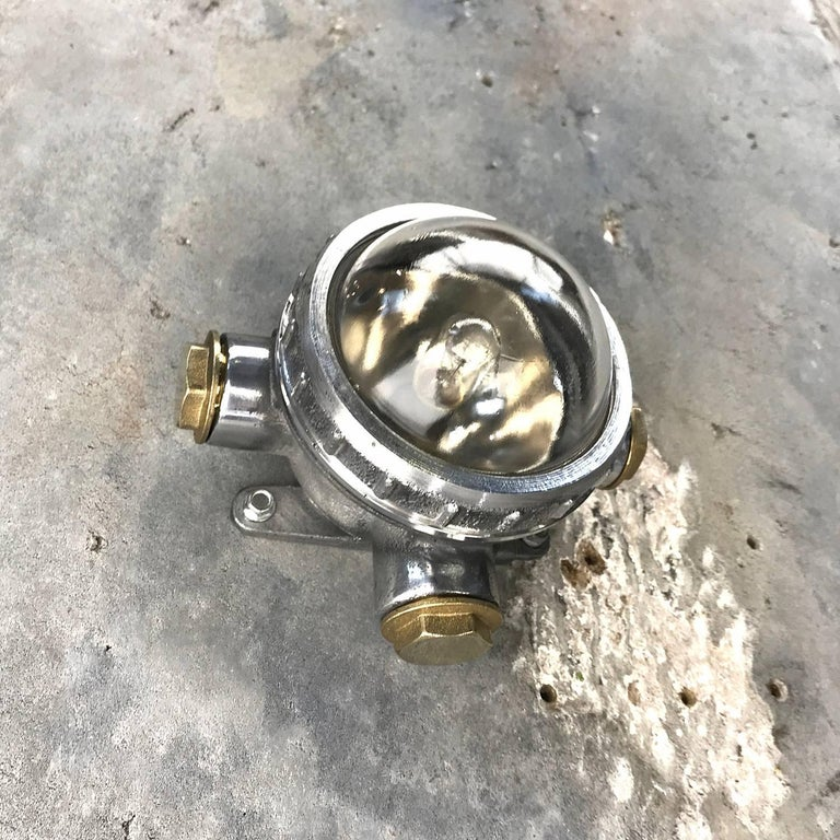 1970s Russian Cast Aluminium, Brass and Glass Industrial Micro Spot / Down Light For Sale 2