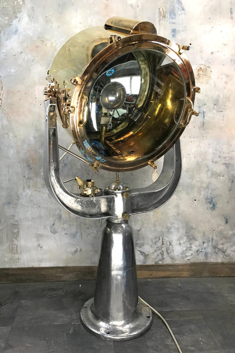 Industrial 1940s Rotherham's British Brass, Bronze and Aluminium Maritime Searchlight For Sale