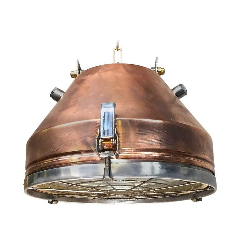 20th Century Industrial VEB Copper & Aluminium Pendant C/W Cage & Bronze Fitting