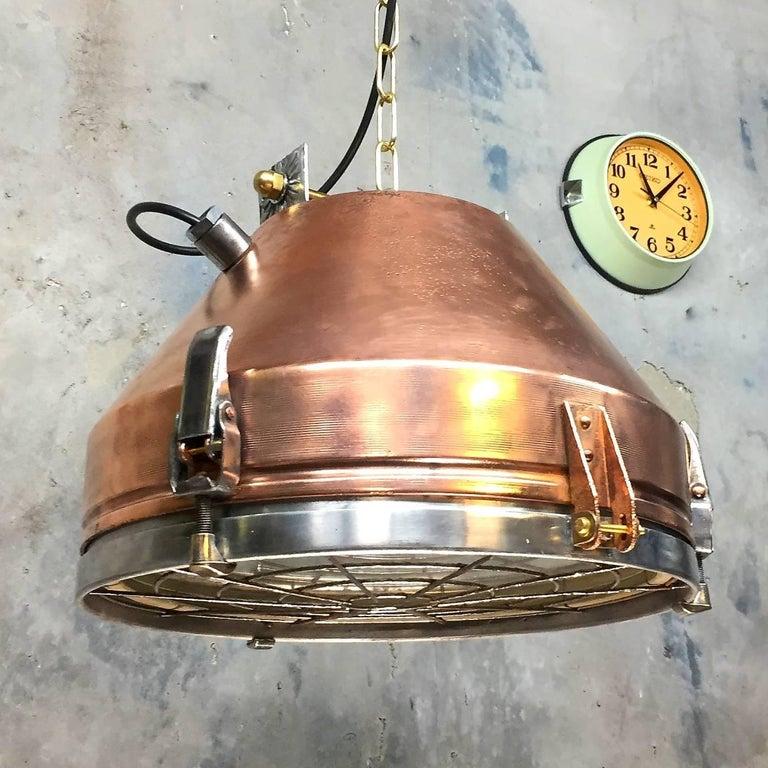 German 20th Century Industrial VEB Copper & Aluminium Pendant C/W Cage & Bronze Fitting