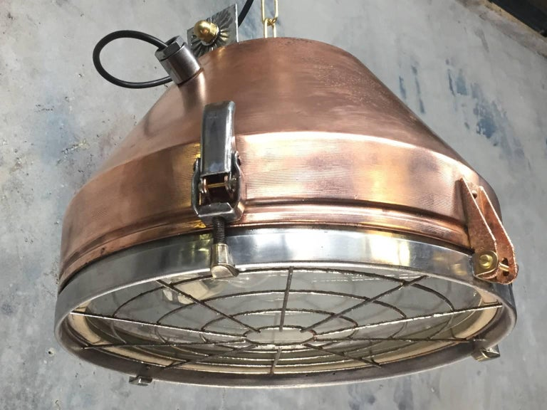 20th Century Industrial VEB Copper & Aluminium Pendant C/W Cage & Bronze Fitting In Excellent Condition In Leicester, Leicestershire