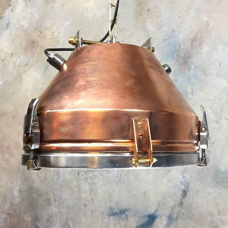 Steel 20th Century Industrial VEB Copper & Aluminium Pendant C/W Cage & Bronze Fitting