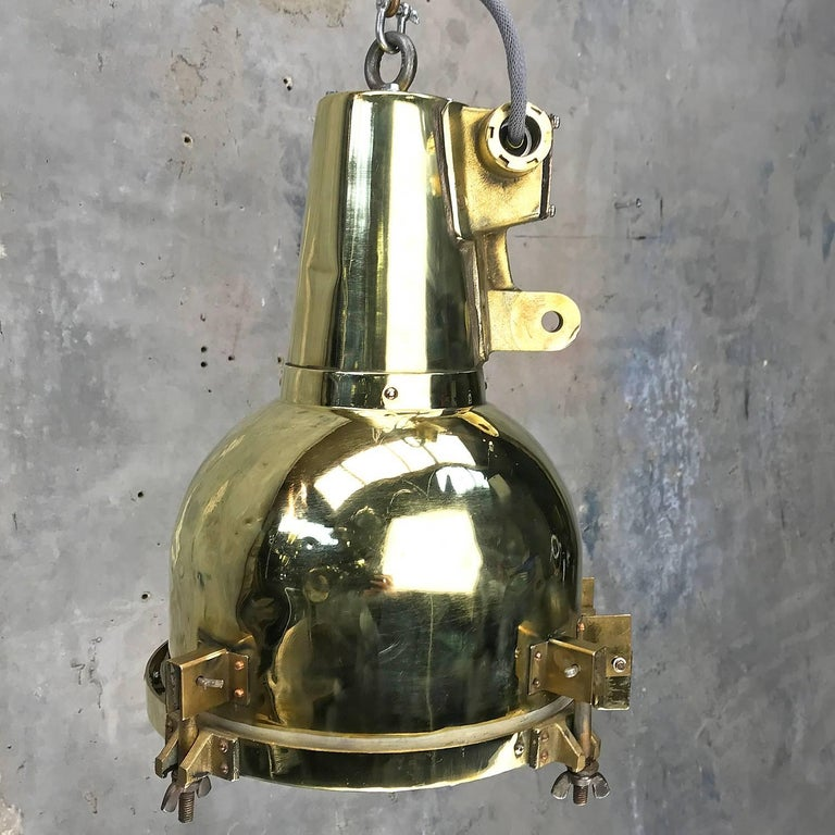 Late 20th Century 1970s Japanese Brass Marine Nautical Searchlight Pendant Lamp, Edison E26/E27 For Sale