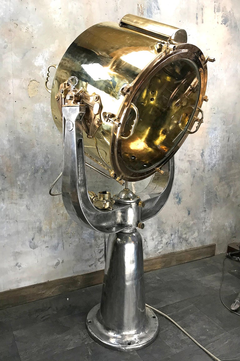 English 1940s Rotherham's British Brass, Bronze and Aluminium Maritime Searchlight For Sale