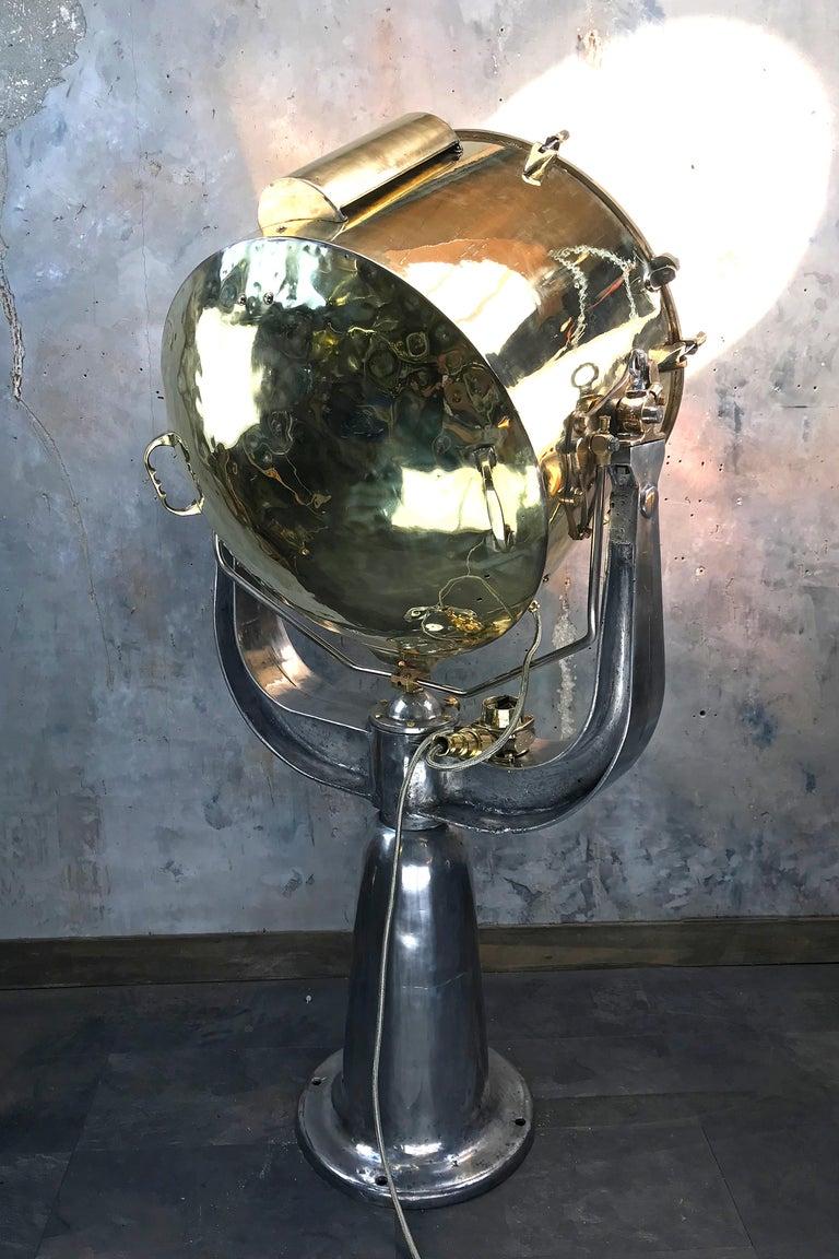 1940s Rotherham's British Brass, Bronze and Aluminium Maritime Searchlight For Sale 8