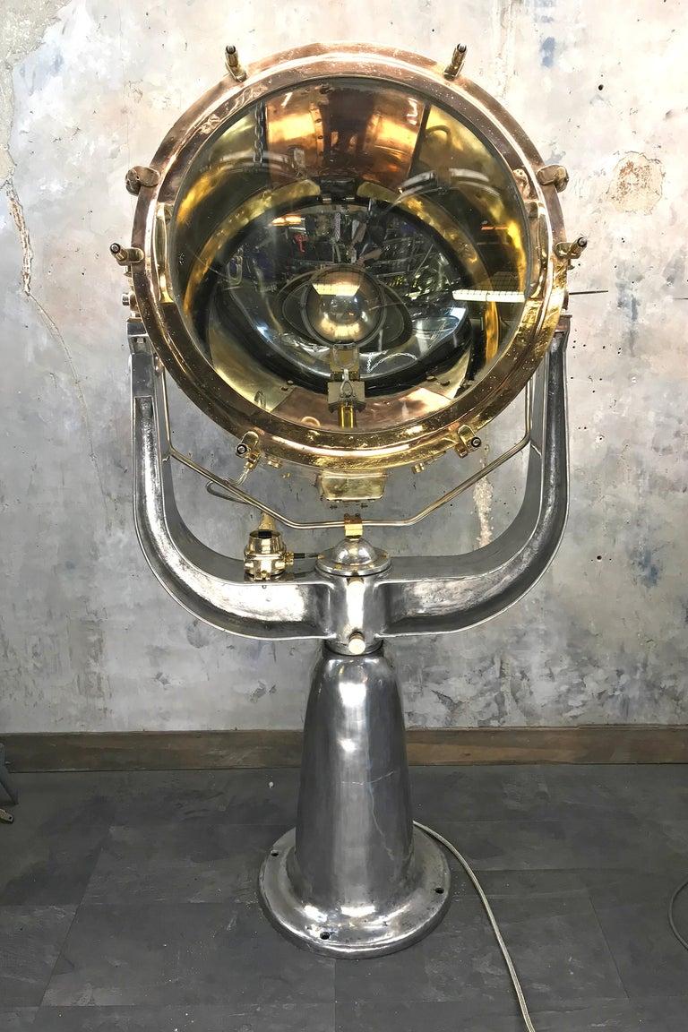 1940s Rotherham's British Brass, Bronze and Aluminium Maritime Searchlight For Sale 11