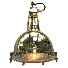 1970s, Japanese Brass Marine Nautical Searchlight Pendant Lamp, Edison E40-E27