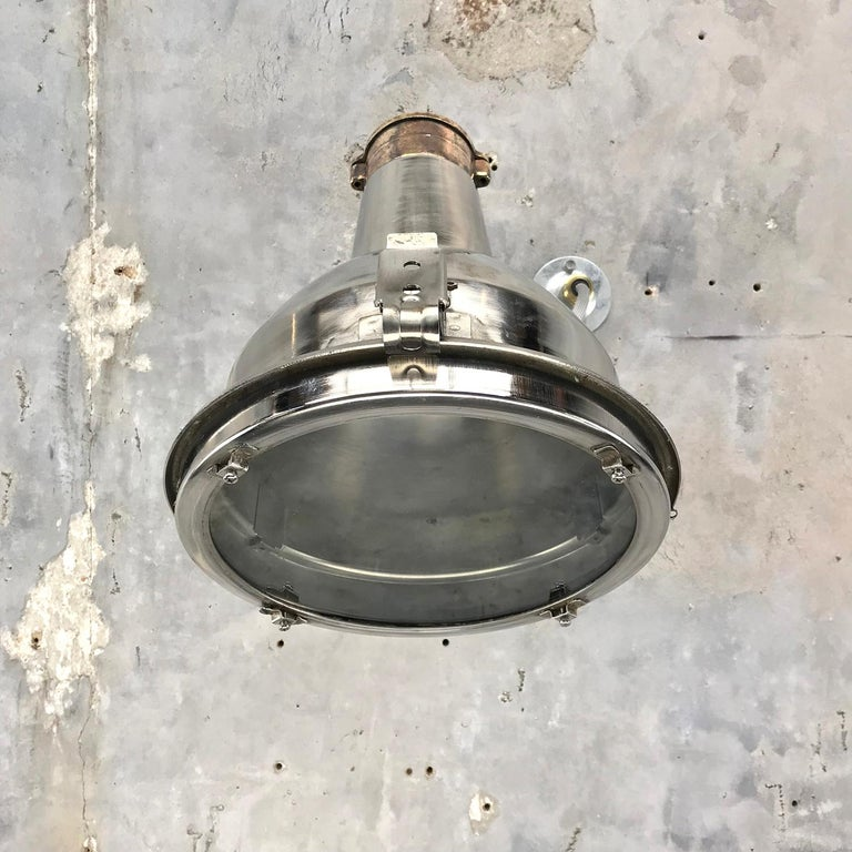 Late 20th Century 1970s Chrome Steel and Cast Brass Industrial Uplighter / Wall Washer Lamp For Sale