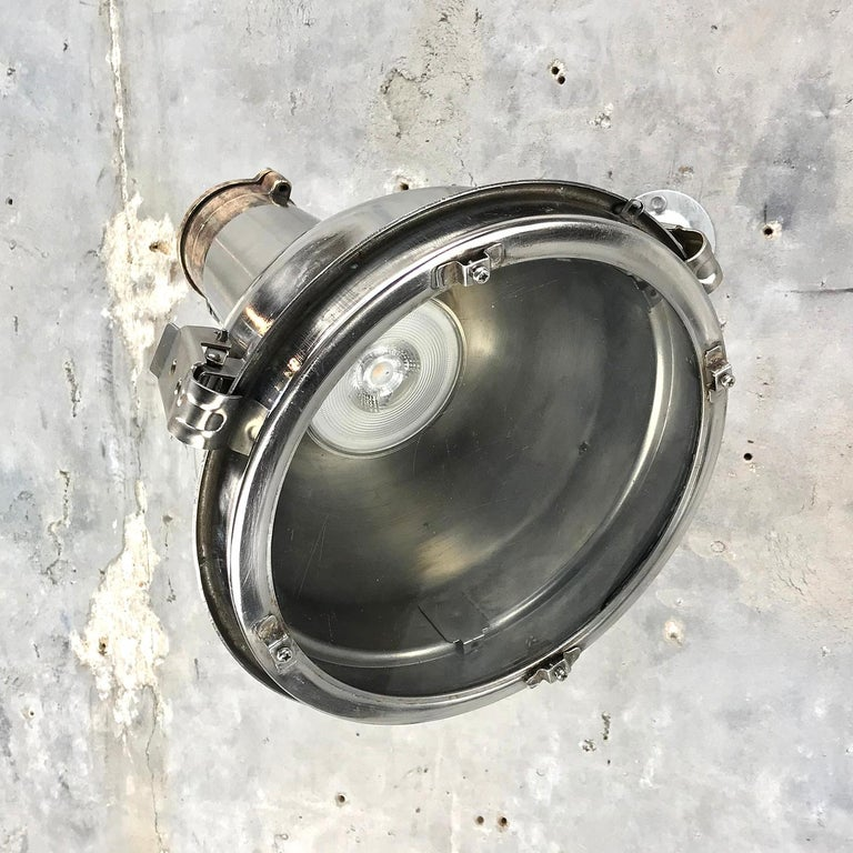 1970s Chrome Steel and Cast Brass Industrial Uplighter / Wall Washer Lamp For Sale 10