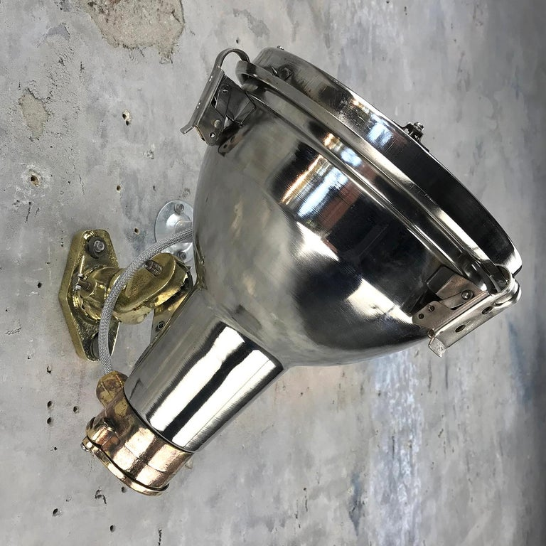 1970s Chrome Steel and Cast Brass Industrial Uplighter / Wall Washer Lamp For Sale 12