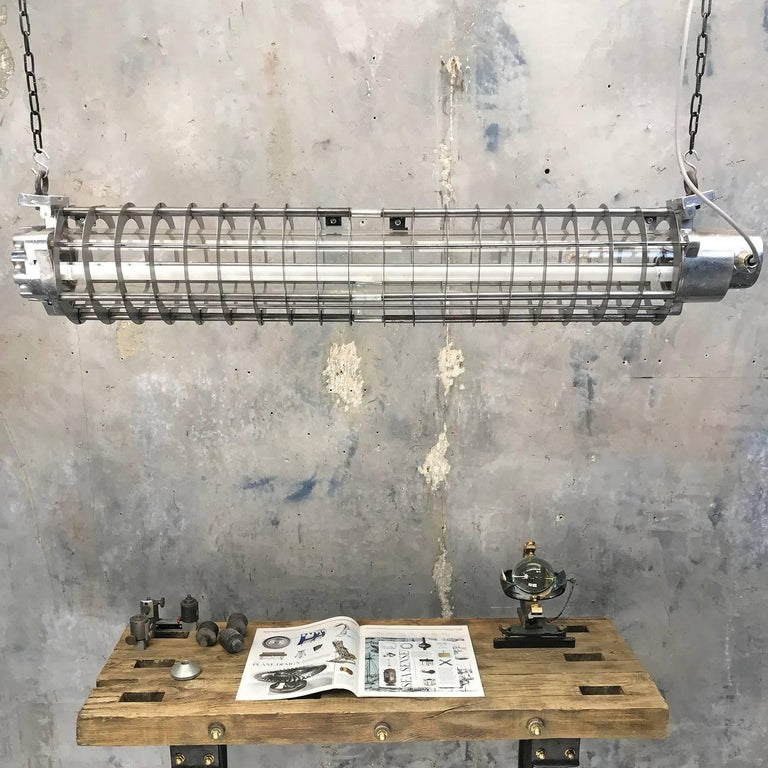 1970s German Cast Metal Explosion Proof Strip Light with Glass and Steel Shade In Good Condition For Sale In Leicester, Leicestershire