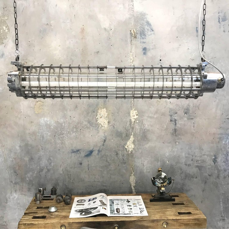1970s German Cast Metal Explosion Proof Strip Light with Glass and Steel Shade For Sale 1