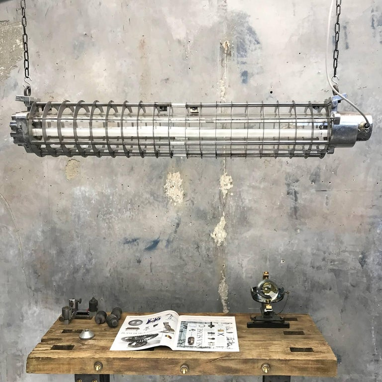1970s German Cast Metal Explosion Proof Strip Light with Glass and Steel Shade For Sale 4