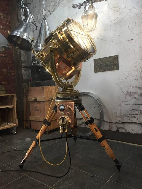 20th Century Copper And Brass Signalling Floor Lamp And Military Gyroscope Tripod At 1stdibs