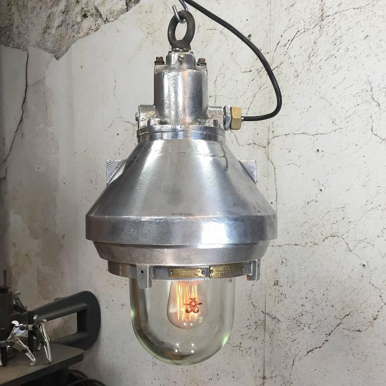 Spanish Late 20th Century Aluminium and Glass Explosion Proof Pendant E27 Edison Bulb For Sale