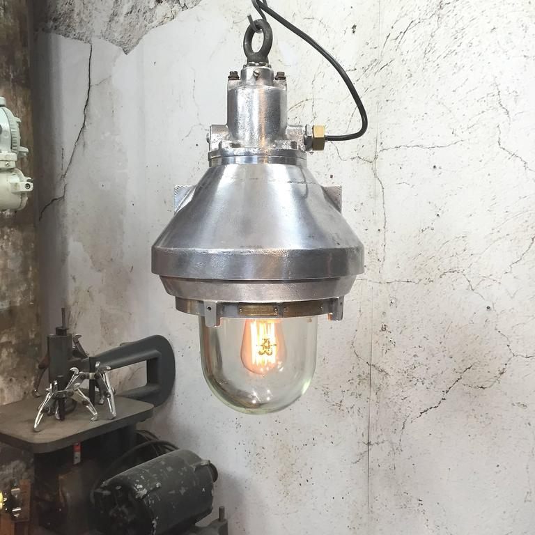 Cast Late 20th Century Aluminium and Glass Explosion Proof Pendant E27 Edison Bulb For Sale
