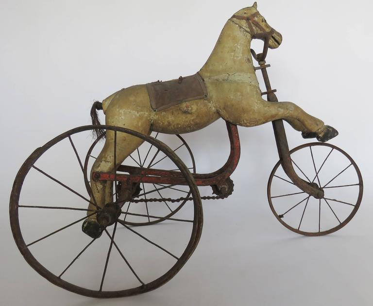 Hand-Crafted Wooden Horse Tricycle For Sale