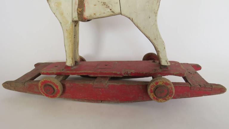 Folk Art 19th Century Wooden Rocking Horse For Sale