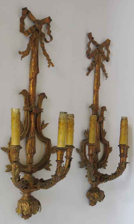 Paar große vergoldete Eisen drei leichte Wandleuchter Applique 2
