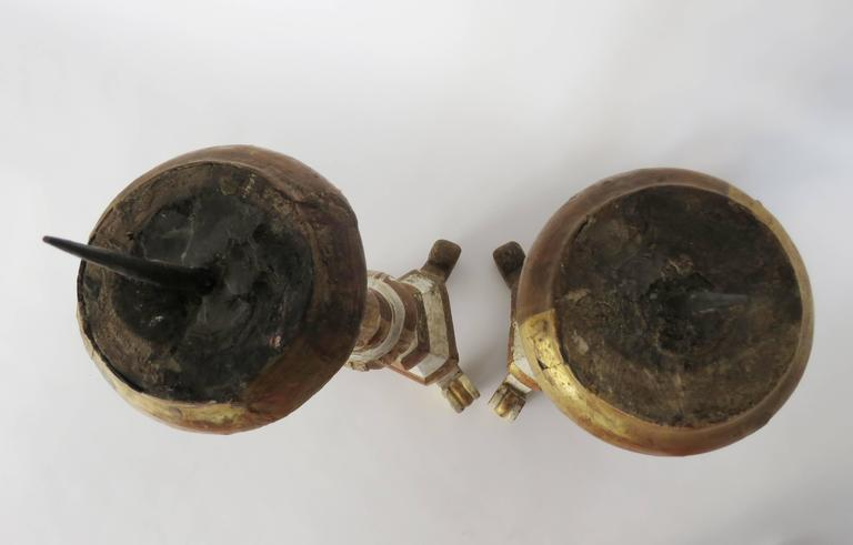 18th Century Pair of Polychromed Church Prickets or Candlesticks For Sale 2