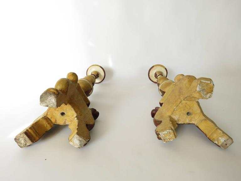 18th Century Pair of Painted Candlesticks For Sale 3