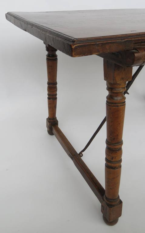 Spanish 18th Century Walnut Side Table For Sale