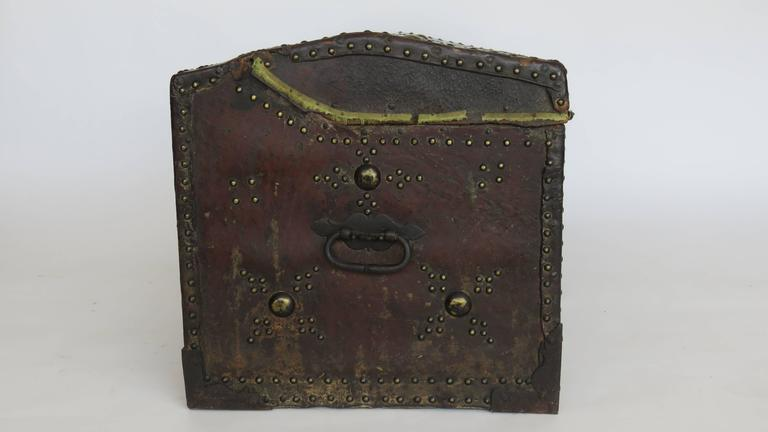 Brass 18th Century Spanish Leather Mounted Coffer Trunk For Sale
