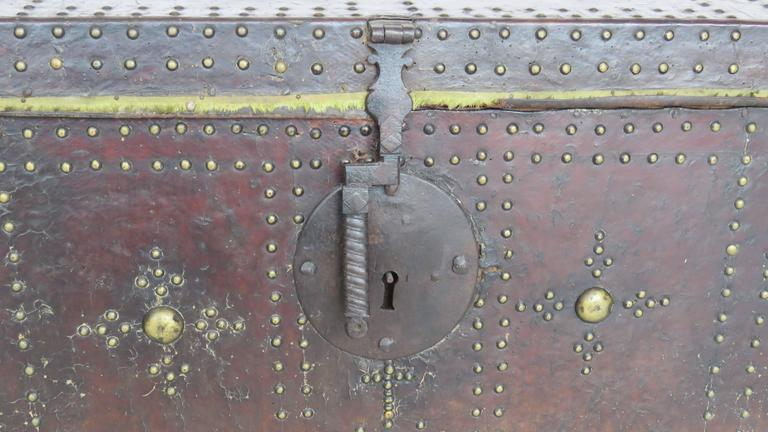 18th Century Spanish Leather Mounted Coffer Trunk 3