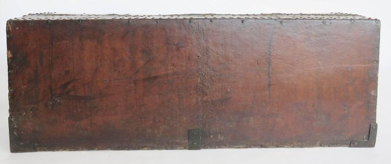 18th Century Spanish Leather Mounted Coffer Trunk For Sale 1