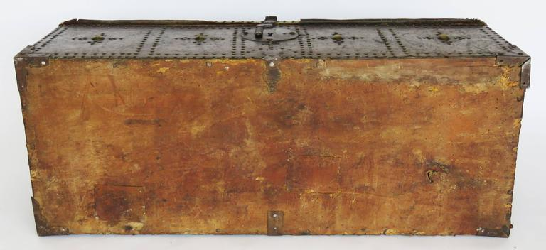 18th Century Spanish Leather Mounted Coffer Trunk 9
