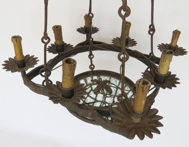 Hammered 19th Century Gaudi Style Iron Chandelier with Rock Crystal Bowl For Sale