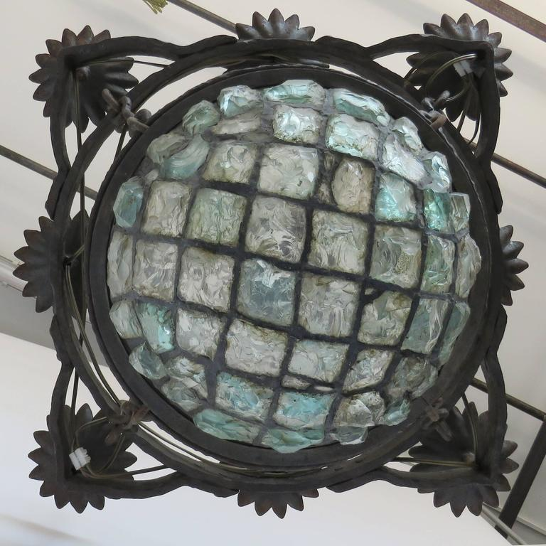 19th Century Gaudi Style Iron Chandelier with Rock Crystal Bowl For Sale 1