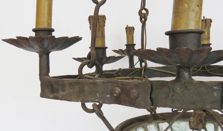 19th Century Gaudi Style Iron Chandelier with Rock Crystal Bowl In Excellent Condition For Sale In Alella, ES