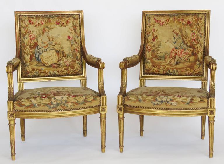 19th Century Giltwood Louis Xvi Style Parlour Set For Sale