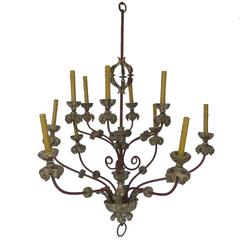 Early 19th Century Italian Large Painted Iron and Wood Chandelier