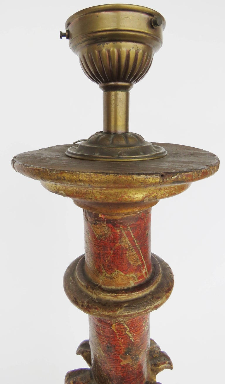 Hand-Crafted 18th Century Polychromed Church Torchere For Sale