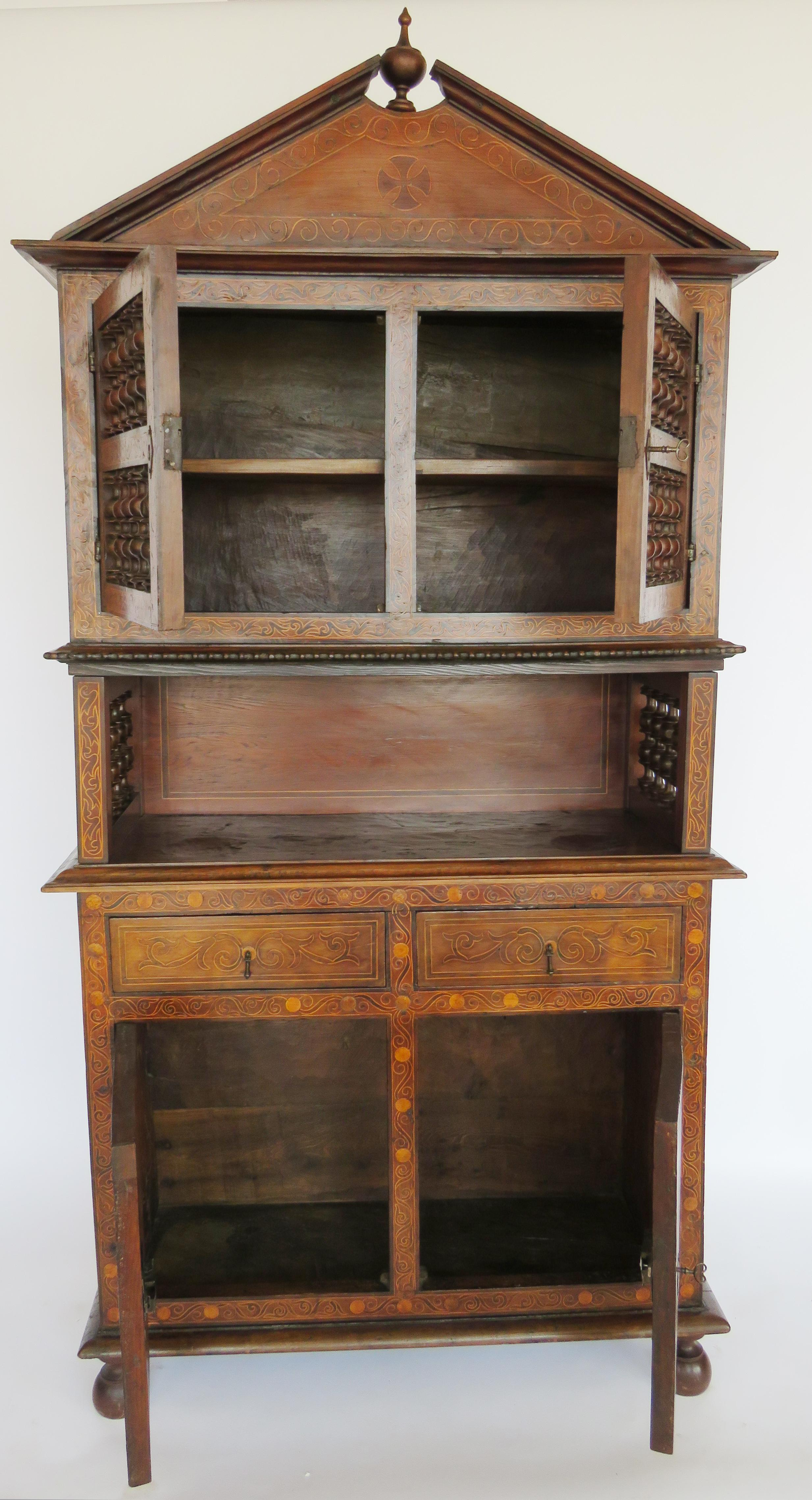 Three Storied Lemon Inlaid Marquetry Cabinet. Upper Storey Has A Peaked  Pediment Over Double Doors