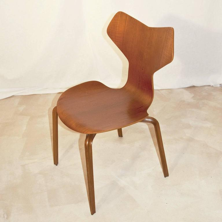 danish teak grand prix side chair designed by arne jacobsen for sale