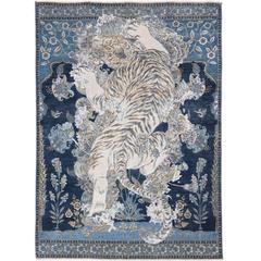 17th Century Modern Tibetan Tiger Jaipur Persian Knot Modern Vintage Wool Silk