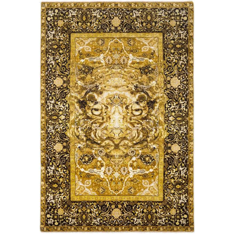 17th Century Modern Tiger Hand Knotted Wool and Silk Rug by Knots Rugs For Sale