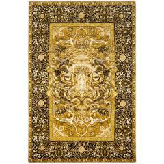 '17th Century Modern Tiger' Jaipur Persian Knot Modern Vintage Wool Silk