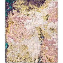 'English Rose_Teal' Hand-Knotted Tibetan Contemporary Abstract Rug Wool & Silk