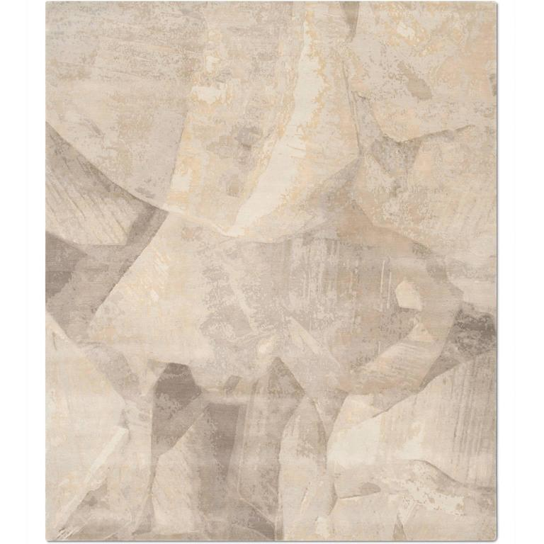 'Calcite_Mink' Hand-Knotted Tibetan Rug Made In Nepal By