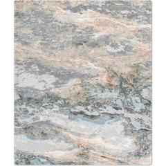 'Marble_Sea' Hand-Knotted Tibetan Contemporary Abstract Rug Wool & Silk