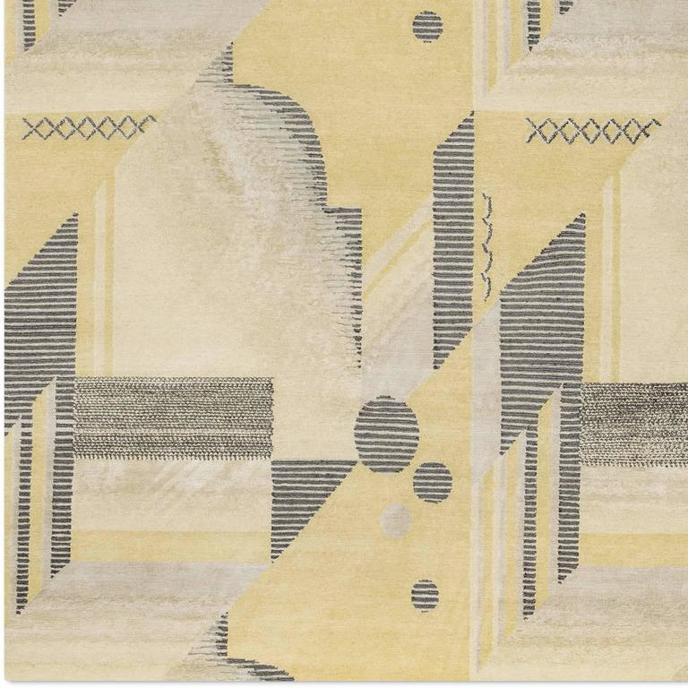 'Art Deco_Lemon' Hand-Knotted Tibetan Rug Made In Nepal By