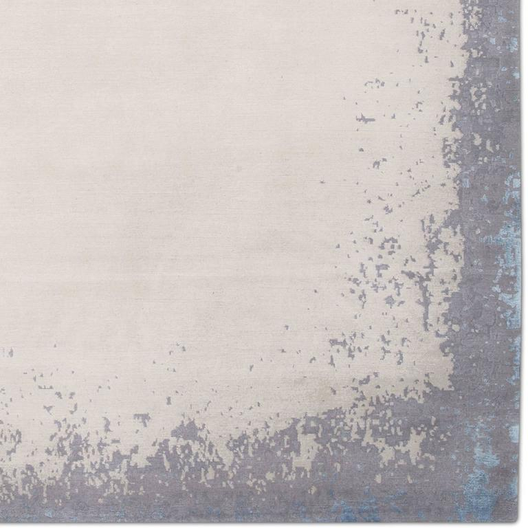 'Modern Border_Light Rain' Hand-Knotted Tibetan Rug Made in Nepal by Knots Rugs 5