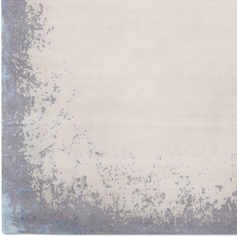 'Modern Border_Light Rain' Hand-Knotted Tibetan Rug Made in Nepal by Knots Rugs 4