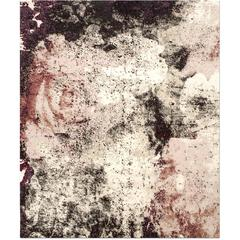 'English Rose_Blush' Hand-Knotted Tibetan Contemporary Abstract Rug Wool & Silk